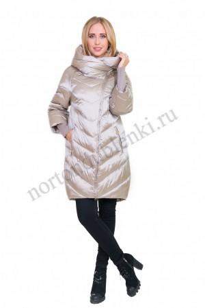 2f559560c97 ALBANA AB-8109 шампань Женская светлая удлиненная куртка с капюшоном