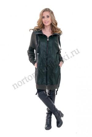 8b66f9d7869 R-2760 VERDE Женское демисезонное кожаное пальто с капюшоном