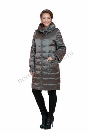 e43c51bcf81 Женское модное зимнее пальто без меховой отделки фирмы Альбана AB-7812  Сappuccino