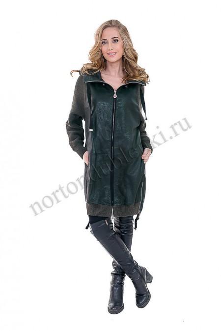547a76bf13e Женский кожаный плащ красивого изумрудного цвета - купить в Москве