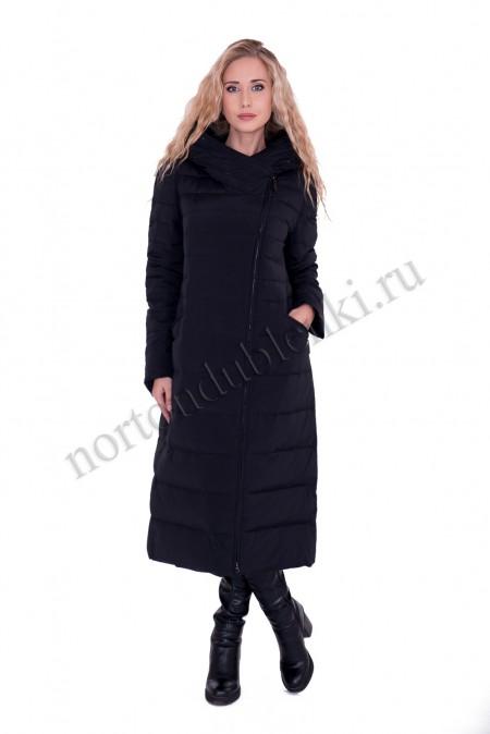 f321a246d4d Женское зимнее чёрное пуховое пальто с норкой ALBANA -купить в Москве